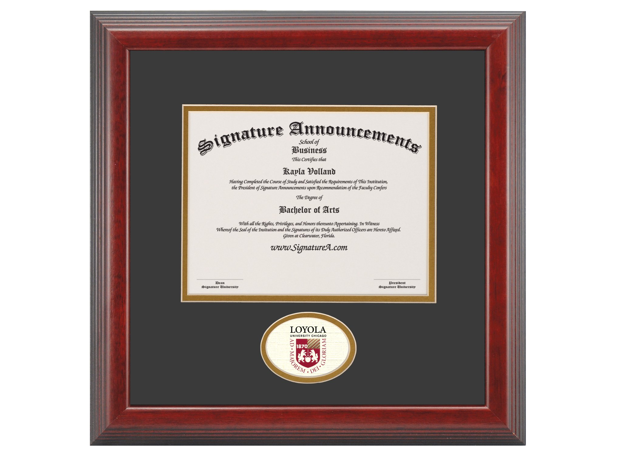 Signature Announcements Loyola-University-Chicago Undergraduate, Graduate/Professional/Doctor Sculpted Foil Seal Diploma Frame, 16'' x 16'', Cherry