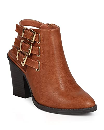 DA00 Women Leatherette Pointy Toe Chunky Heel Ankle Strappy Bootie - Whiskey