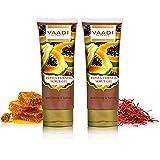 Vaadi Herbals Papaya Fairness Scrub Gel with Honey and Saffron, 110g x 2