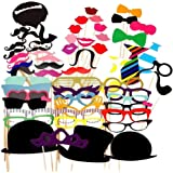 Party Props for Photo Booth Birthday Wedding Kids Adult Prom 58 Pcs, DIY Funny Skywoo Costumes with Mustache on a stick…