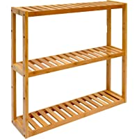 DuneDesign Wandregal 54x60x15cm Bambus Bad-Regal 3 Fächer Holz Ablage Badezimmer Hängeregal Aufbewahrung Küche