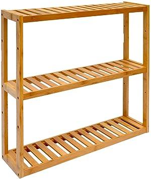 DuneDesign Estantería de Pared 54x60x15cm Flotante 3 baldas Ajustables repisas de Madera de bambú para Colgar