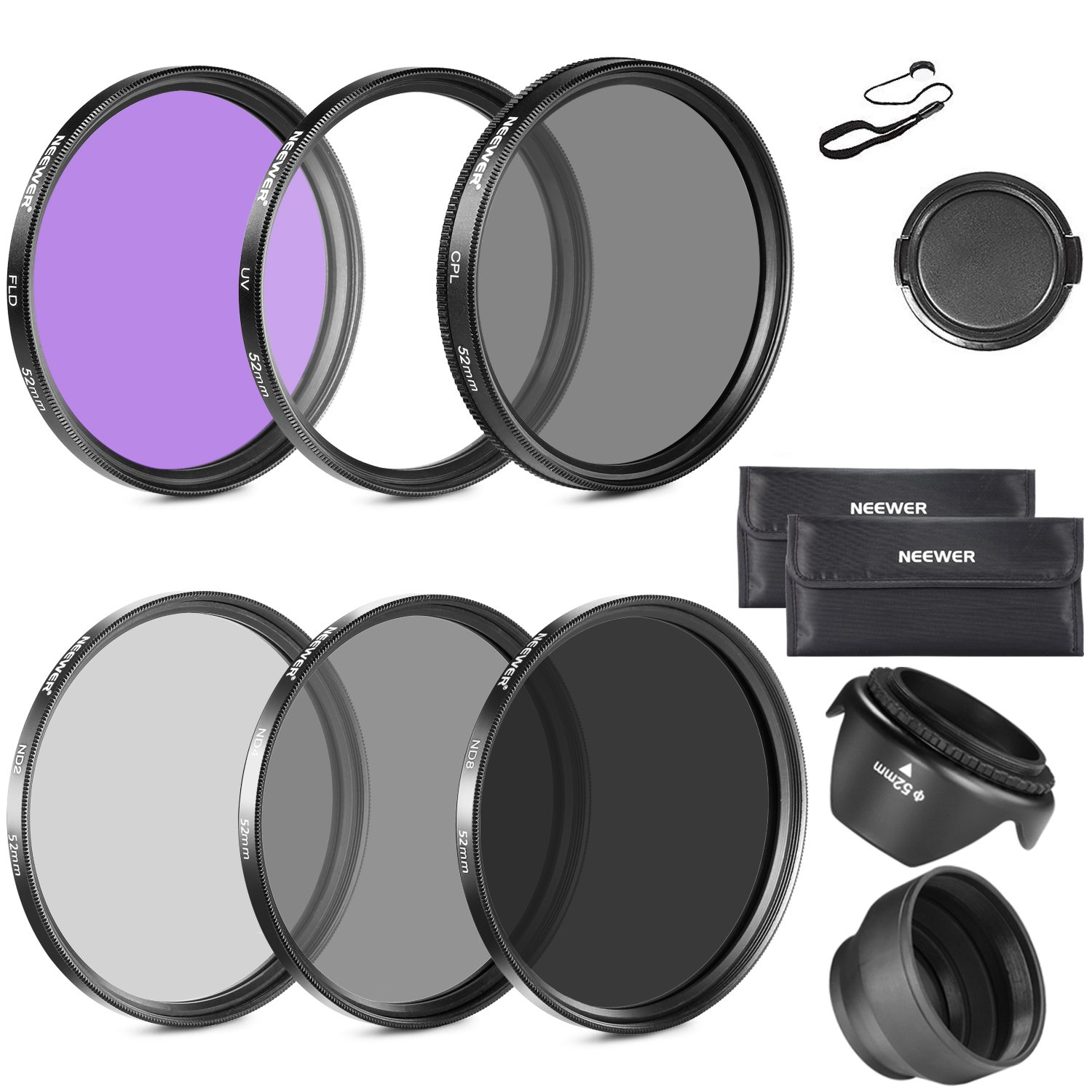 Neewer 52MM Lens Filter Kit:UV, CPL, FLD, ND2, ND4, ND8 and Lens Hood, Lens Cap for NIKON D7100 D7000 D5200 D5100 D5000 D3100 D3000 D90DSLR Cameras by Neewer