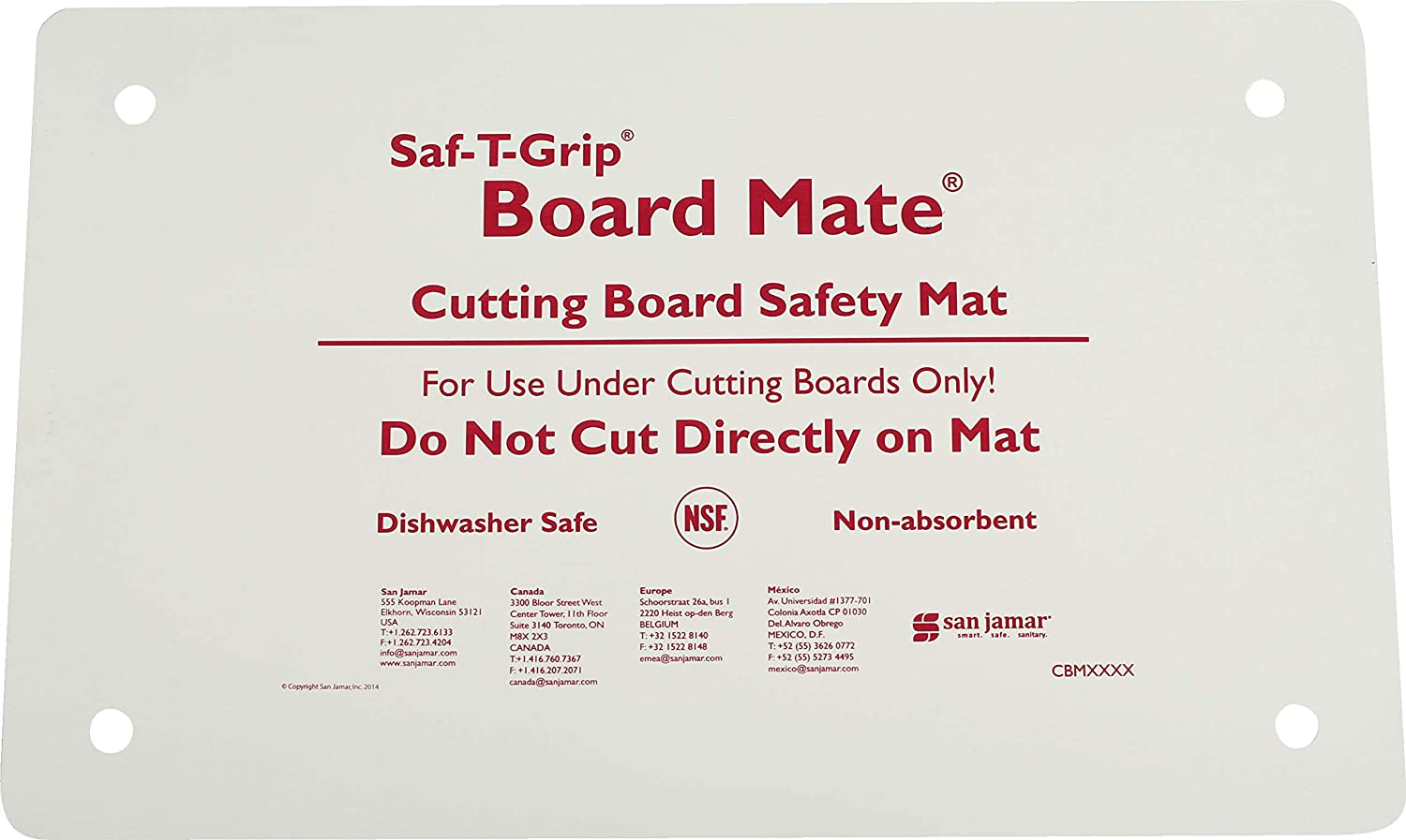 San Jamar CBM1016 Saf-T-Grip Board-Mate Nonslip Cutting Board, 16 Width x 10 Height
