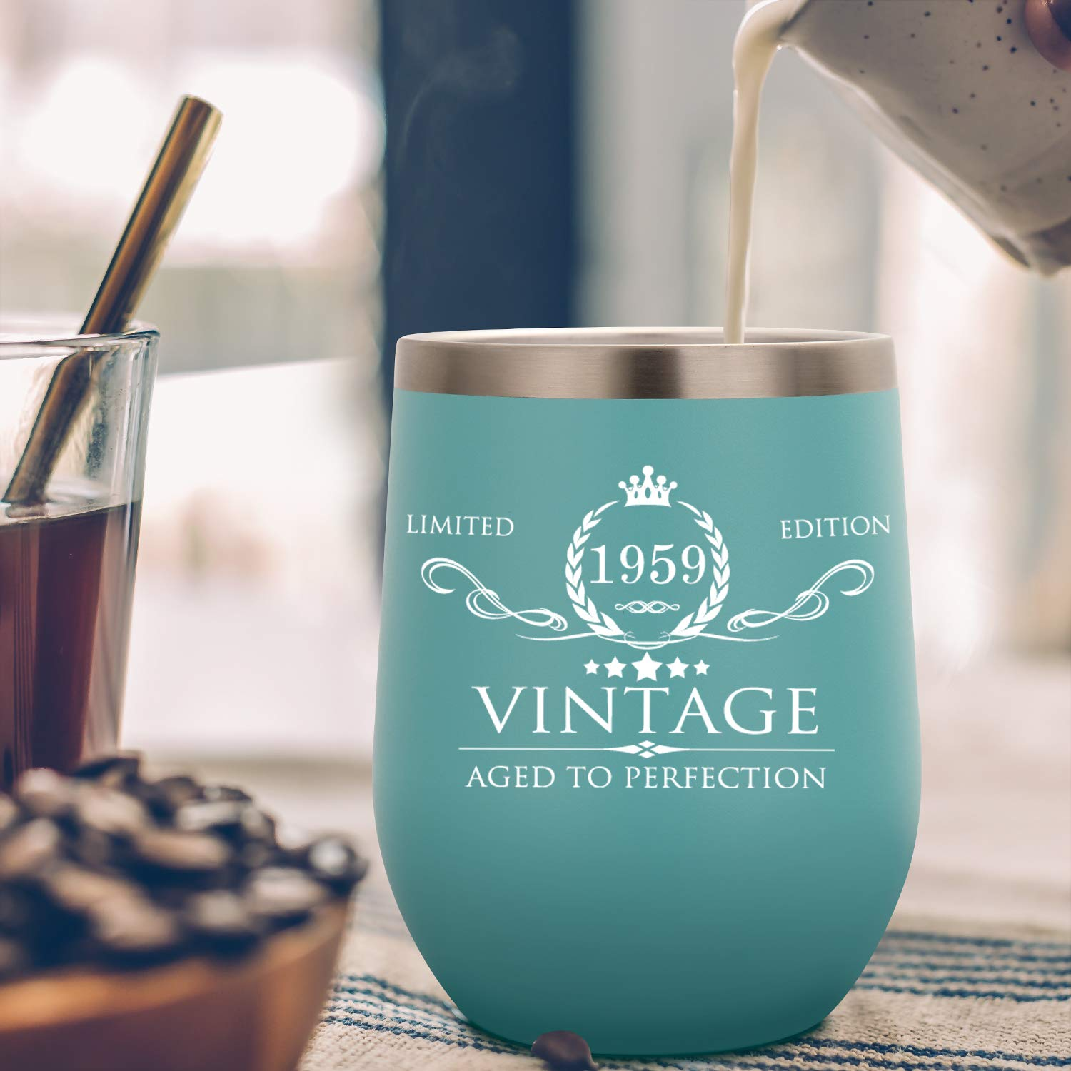 Wife 1959 60th Birthday Gifts for Women and Men Insulated Wine Tumbler Funny 60th Anniversary Gifts Idea Husband Decorations for Her//Him Mom Dad 12oz Mint Double Wall Vacuum Cup with Lid
