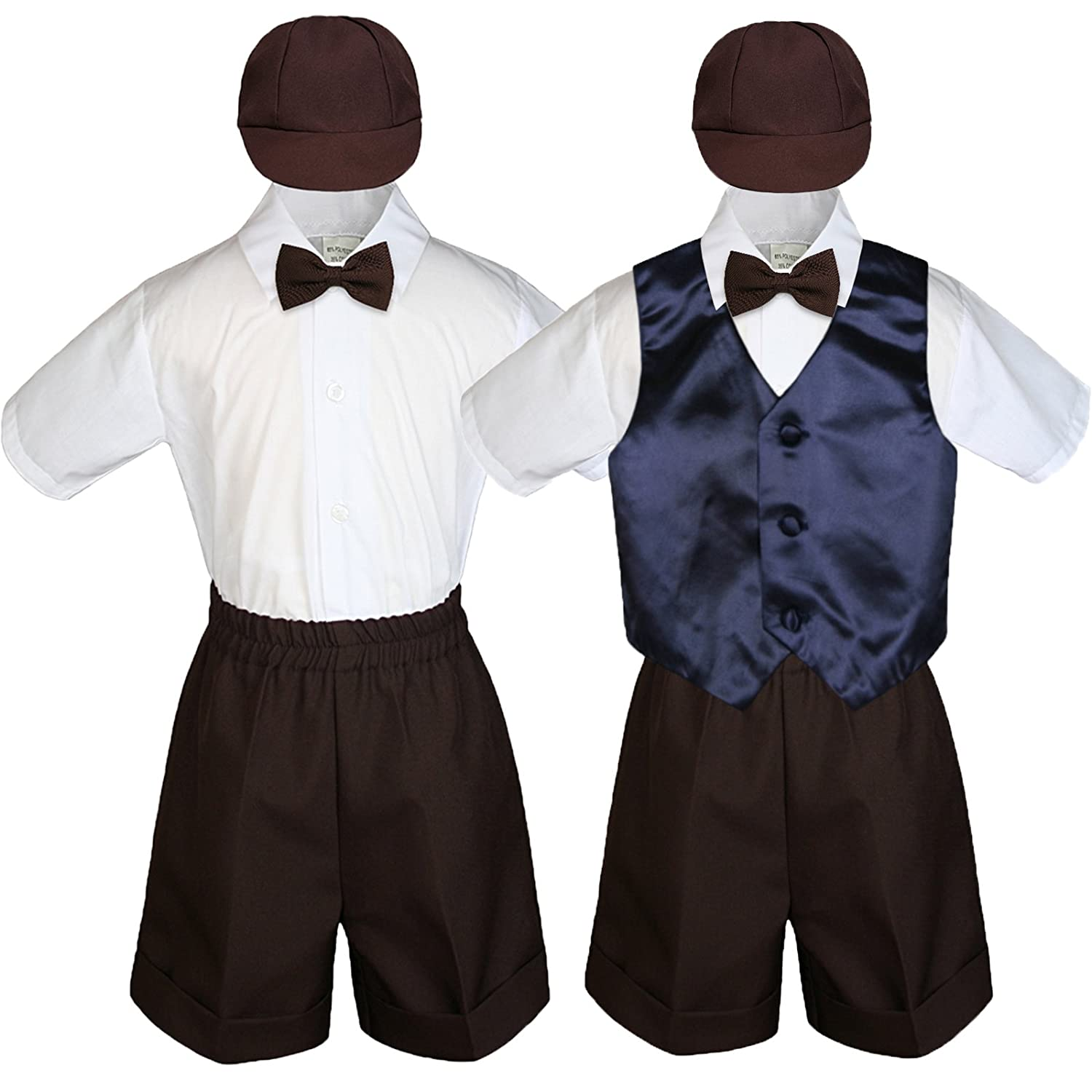 Leadertux Baby Kid Toddler Boy Formal Party Suit Brown Shorts Shirt Hat Vest Set Sm-4T