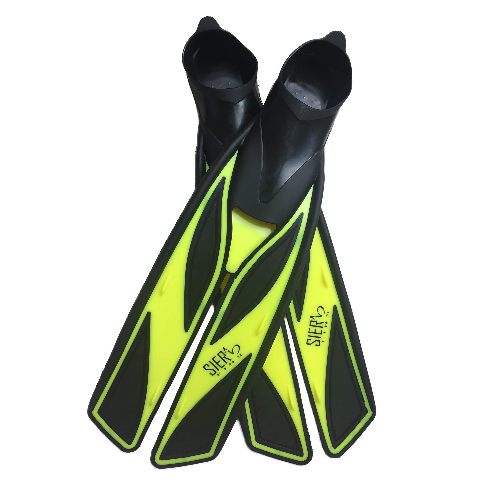 Split Snorkel Fins, Full Foot Diving Fins and Scuba Flippers Fins, Includes Mesh Bag (Yellow, XL EUR 45-46 US Men 10.5-11.5 Women 11.5-12.5) by Sier Fins