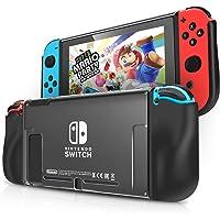 IDESION Coque pour Nintendo Switch avec 2 Fentes pour Cartes de Jeu Housse de Protection Anti-rayures Anti-choc Étui en TPU PC, Noir et Transparent