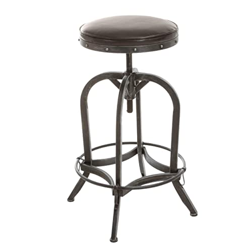 Christopher Knight Home Dempsey Swivel Adjustable Bar Stool, Brown