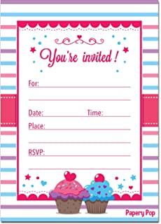 Amazon cupcake theme birthday party invitations fill in style 30 birthday invitations with envelopes kids birthday party invitations for girls or boys cupcake stopboris Choice Image