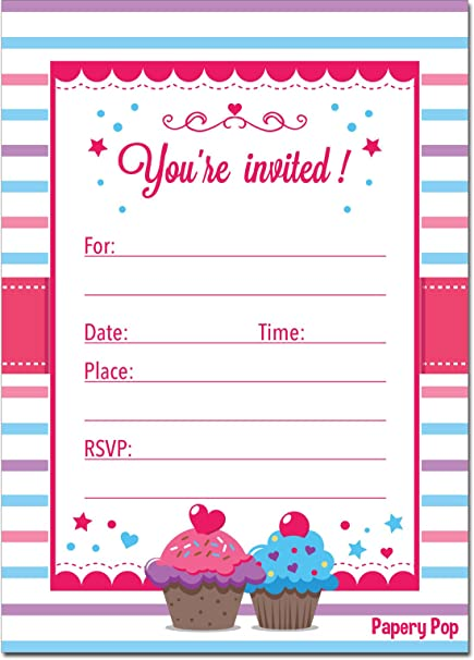 30 Cupcake Birthday Invitations With Envelopes 30 Pack
