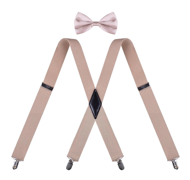 BODY STRENTH Mens Suspenders and Bow Tie Set Adjustable Elastic