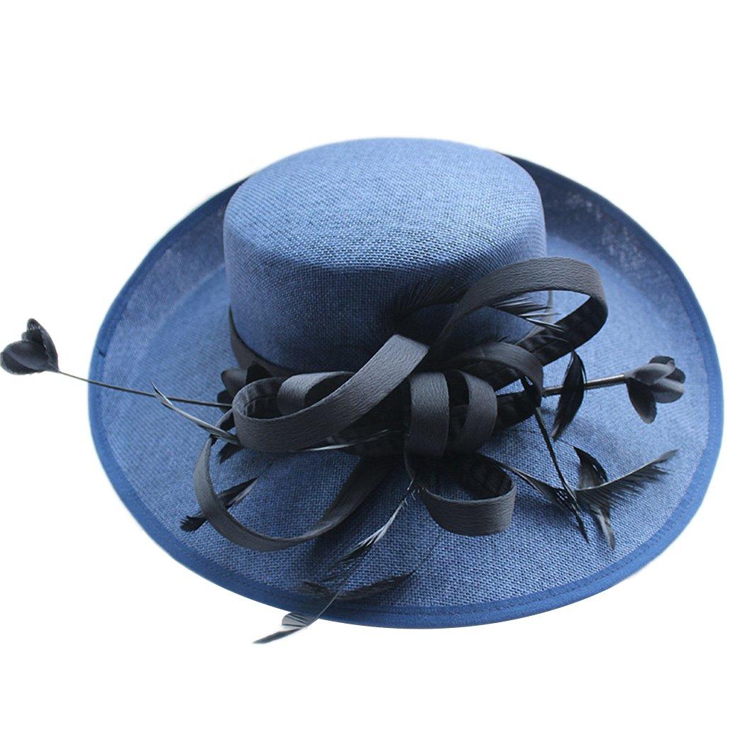 Womens Fascinators Linen Black Derby Large Wide Brim Sun Hat Fedora Bowler