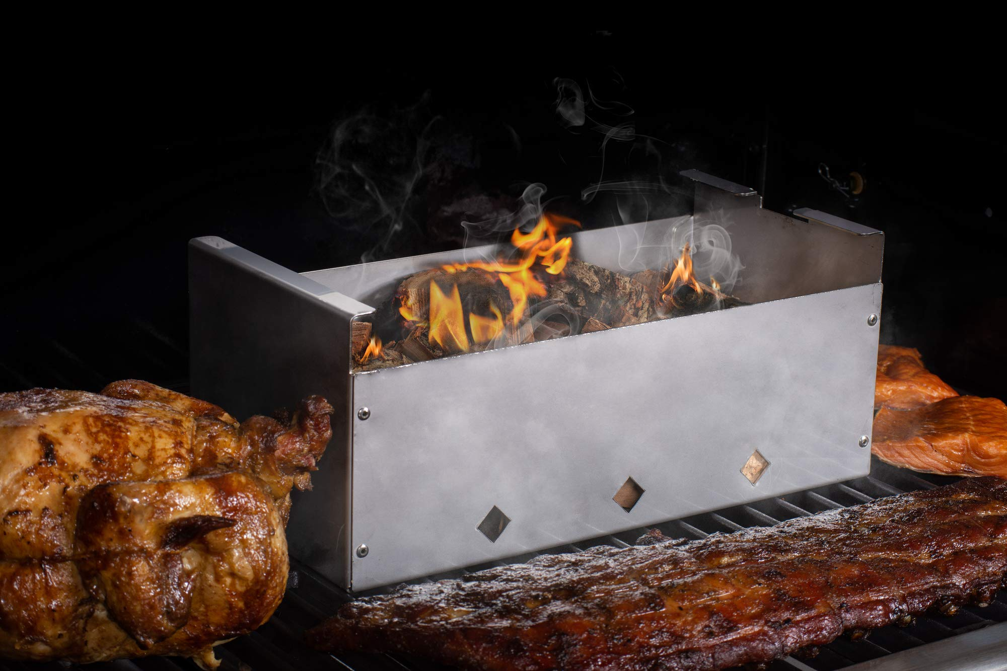DKS Smoker Cooker Box for Grill | Turn Any BBQ Grill Into A Smoker | No Propane or Charcoal Needed | Provides All The Heat and Smoke to Cook Any Food (432 cu inches) by DiamondKingSmoker