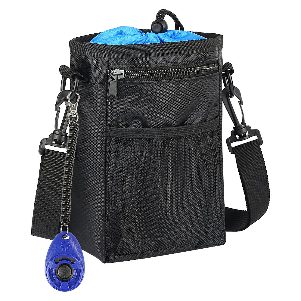 HonFei Dog Treat Pouch, Pet Puppy Dog Training Bags with Adjustable Strap and Waist Belt, Waterproof Built-in Waste Dispenser Bags and Training Clicker/Poop Bag