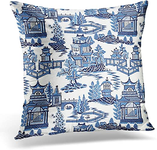18/'/' Oriental Blue Floral Cotton Linen Cushion Cover Pillow Case Home Decor Gift