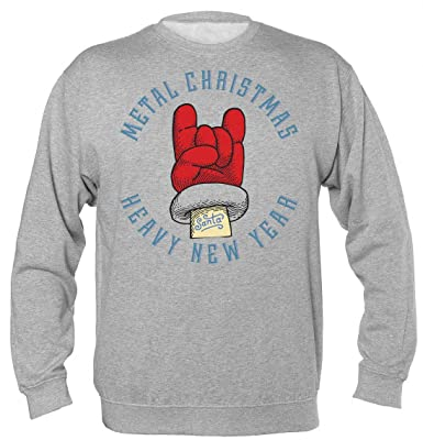 Metal Christmas and Heavy New Year Cool Rocker Santa Christmas Design Sudadera Unisex: Amazon.es: Ropa y accesorios