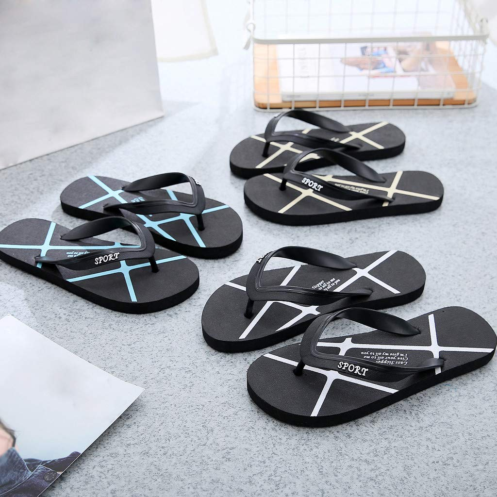 ♚Deadness Fashion Summer Flip Flops for Unisex Casual Beach Stripe No-Slip Flat Bottom Flat Slippers