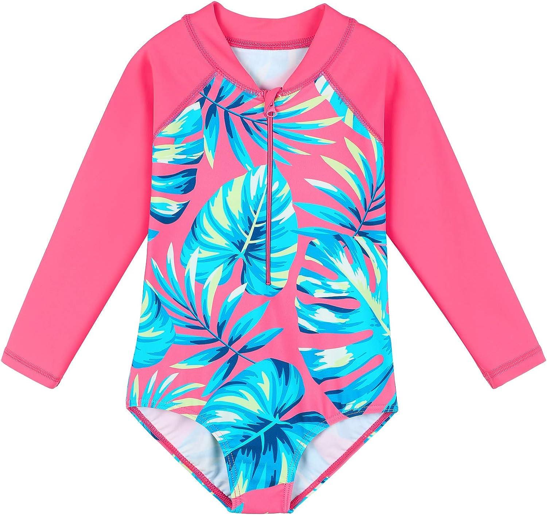 Girls Rash Guard Set 2 Piece Swimwear for Girls Long Sleeve Swimsuits UPF50 Sun Protection Bathing Suit