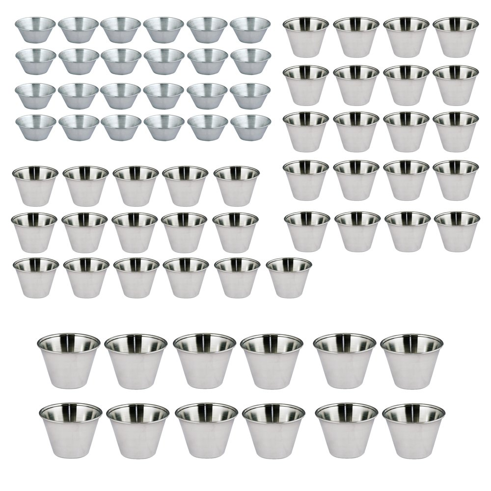 Kosma Set of 72 Stainless Steel Condiment Cups | Sauce Cup | Sauce Salad Dressing Cups (24pc-1.5oz/45ml,36pc- 2.5oz/70ml, and 12pc- 4oz/115ml)