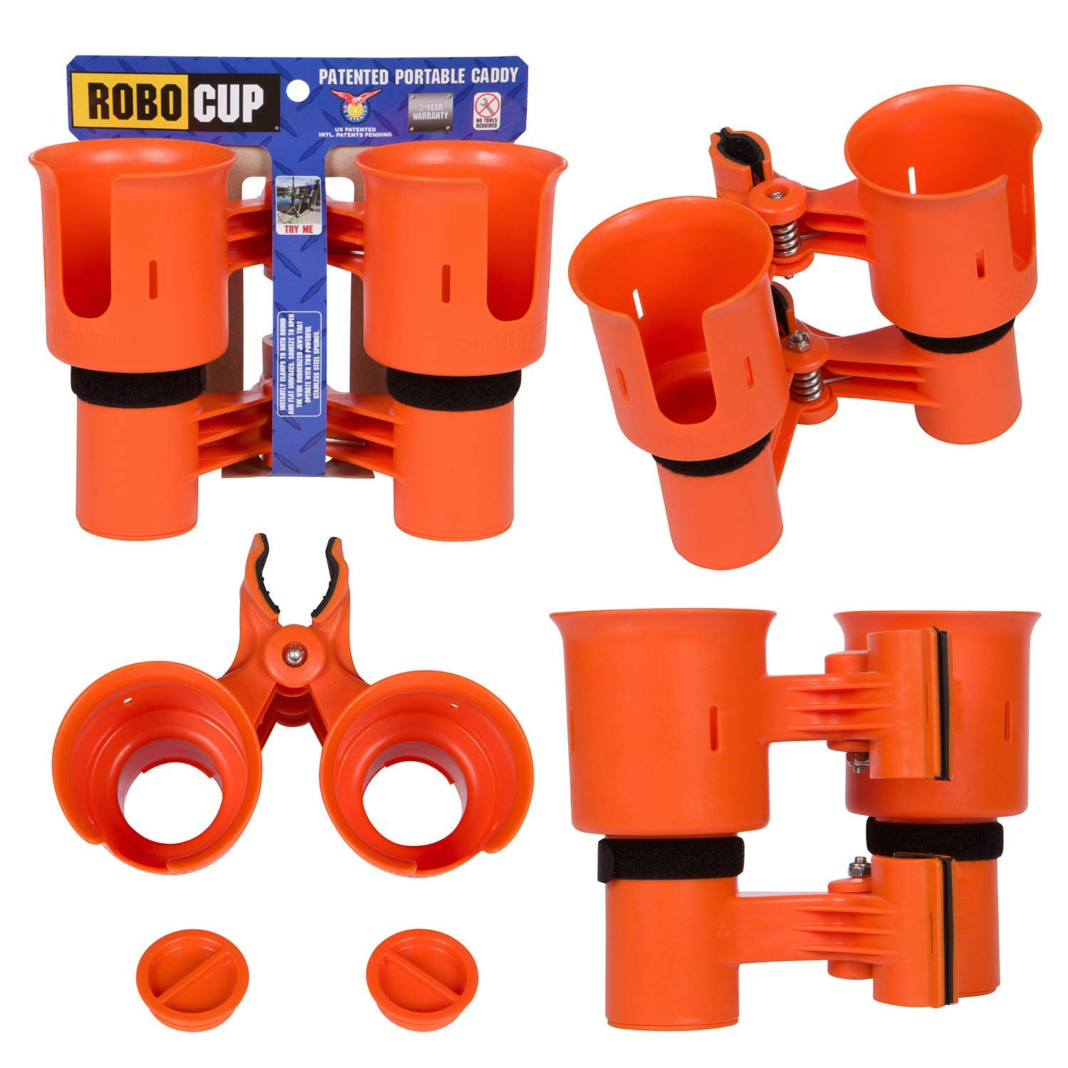 ROBOCUP, Orange, Updated Version, Best Cup Holder for Drinks, Fishing Rod/Pole, Boat, Beach Chair/Golf Cart/Wheelchair/Walker by ROBOCUP