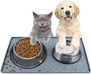 YOUTUO Dog Food Mat, Nonslip Pet Food Mat, Silicone Cat Bowl Mat, Washable Dog Mat for Food and Water, Waterproof Dog Food Mats for Floors, Waterproof Trays for Indoor and Outdoor Floor Protection