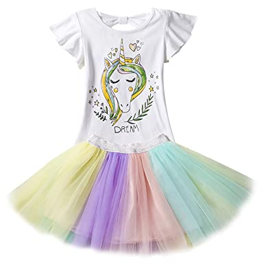 DJSJ- Unicornio Disfraz Niña Vestido de Cosplay Traje ...