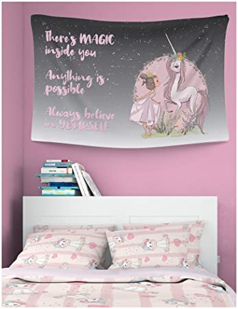 Something Unicorn - Wall Tapestry for Teen Girls, Kid\'s Room, Nursery,  College Dorm, or Girl\'s Bedroom Decor. Essential Item for Teen Girl\'s Wall  and ...