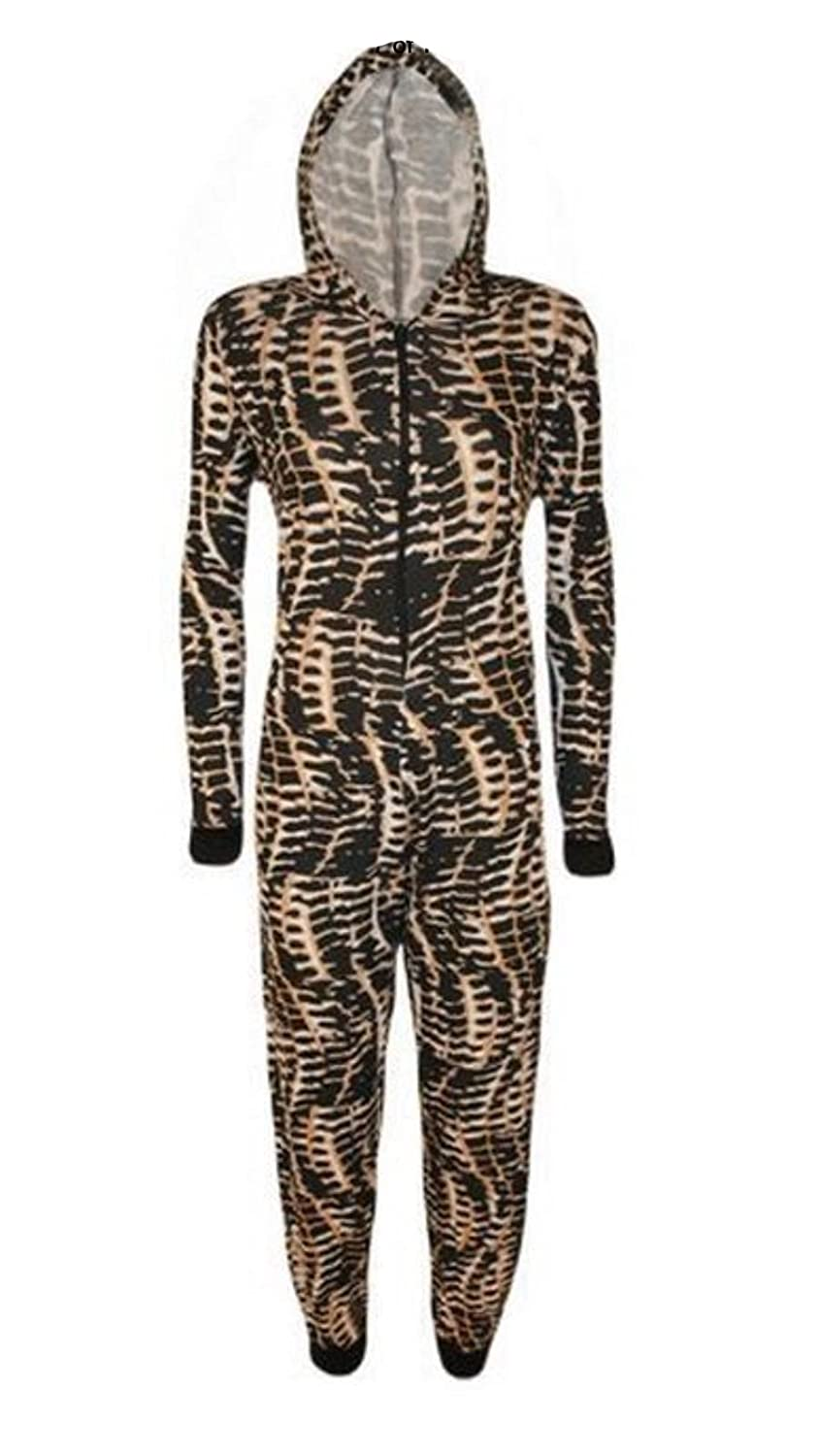 R KON Women Onesie Fashion Printed Playsuit Hooded Ladies Jumpsuit Romper