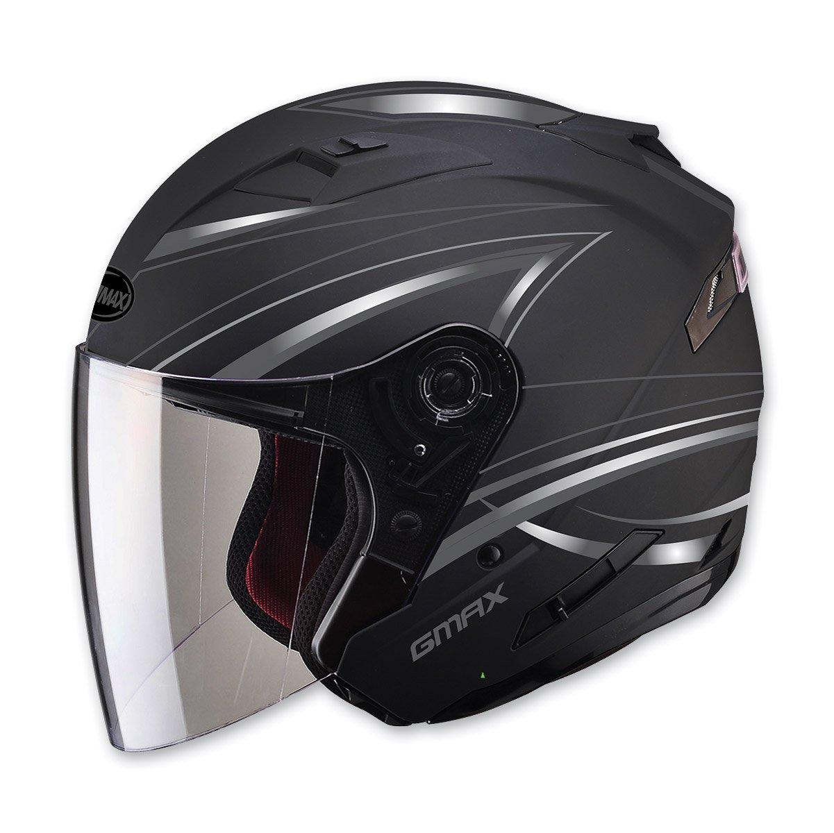 GMAX unisex-adult open-face-helmet-style Helmet (Of77 Derk) (Flat Black/Silver, Medium)