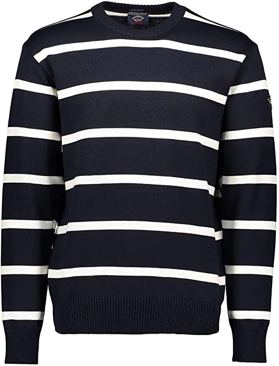 Mens PAUL /& SHARK Polo Shirt Sweater Jumper Wool Striped Blue Grey Size XL