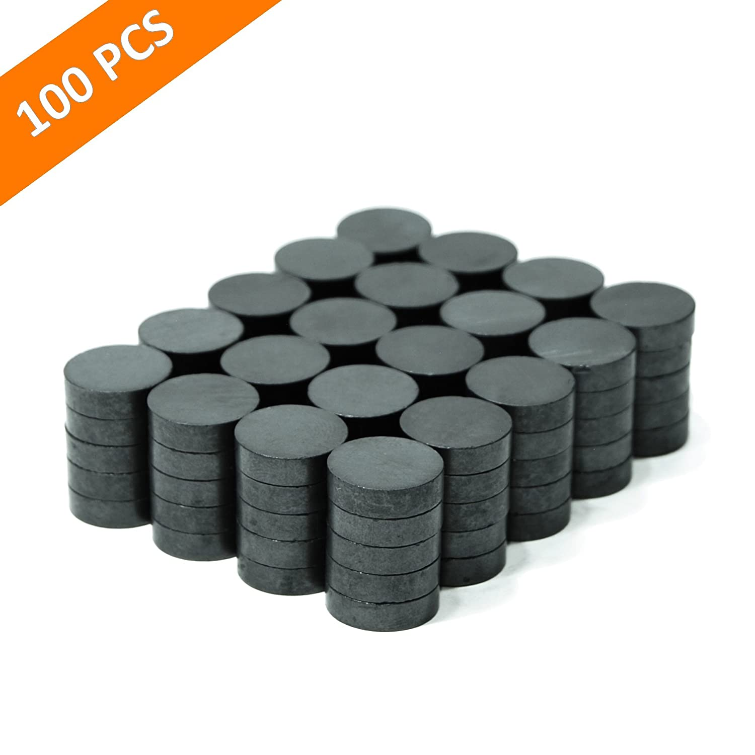 TAQTON Small Ceramic Craft Magnets - 100 pcs. 0.71' x 0.20' Thick. Industrial Strength Craft Magnets, Ferrite Disc Magnets. TAQTON Magnets