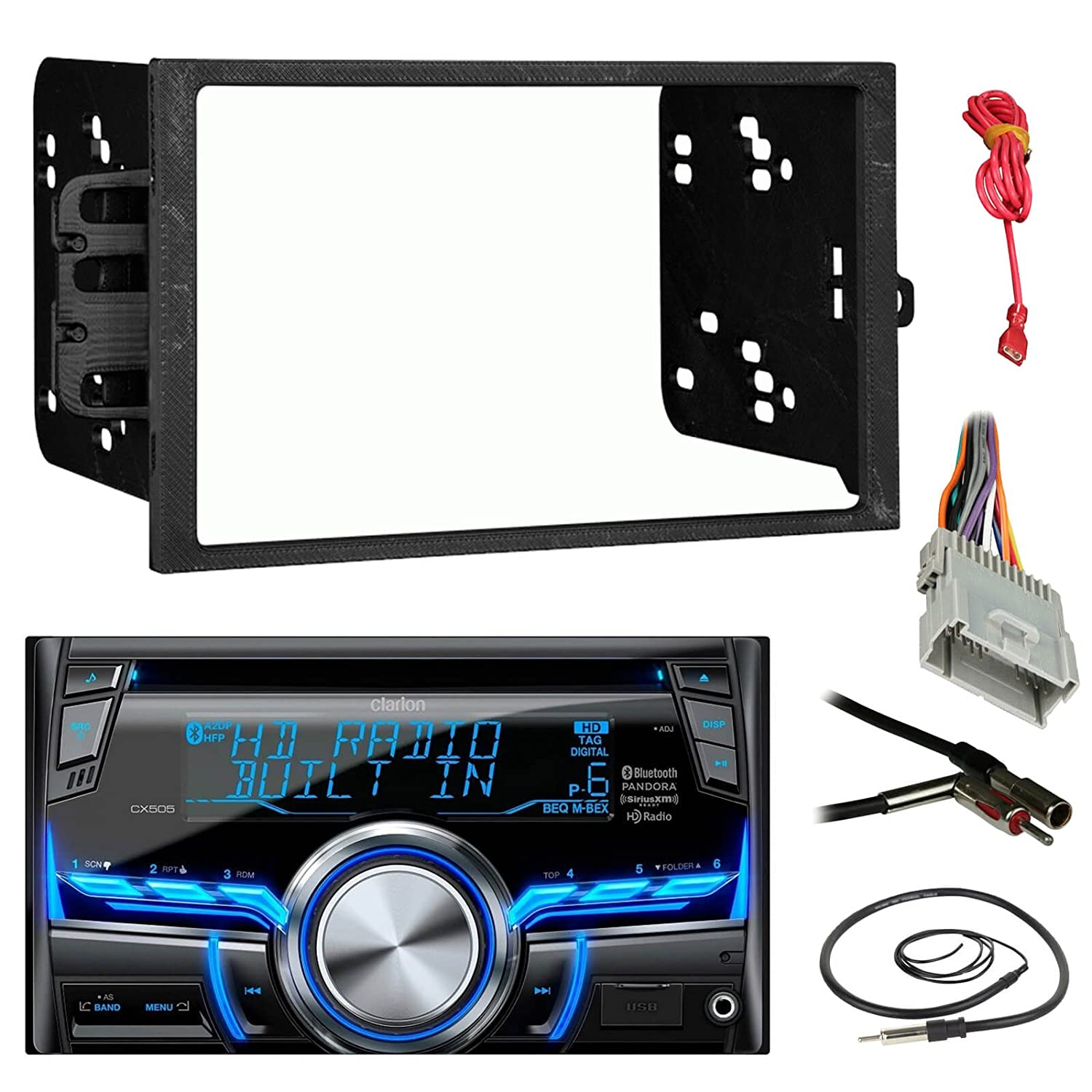 Amazon.com: Clarion CX505 Double Din Bluetooth CD MP3 Car Stereo Receiver  Bundle Combo With Metra installation kit for car stereo (Fits Most GM  Vehicles) + ...