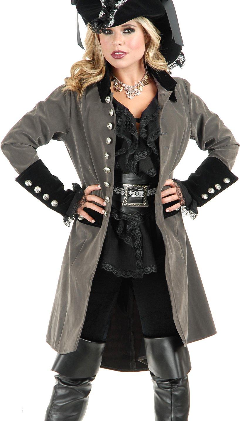Women's Pirate Vixen Long Gunmetal Gray Velvet Coat - DeluxeAdultCostumes.com