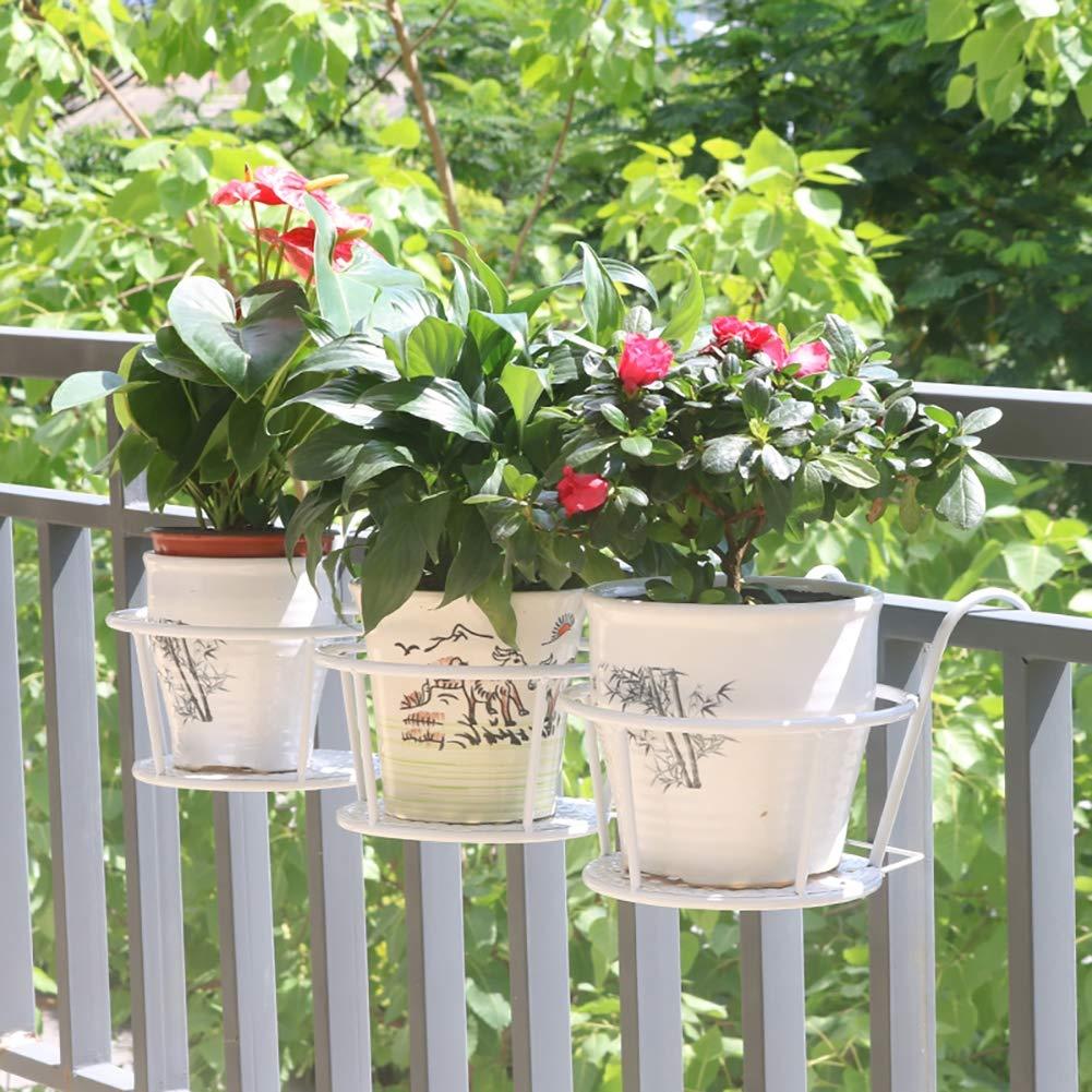 JIAOXM Plant Rack, Vaso di Fiori Display Stand Fiore Rack, ringhiera per Balcone Finestra Interna ed Esterna, 3 Pezzi,bianca