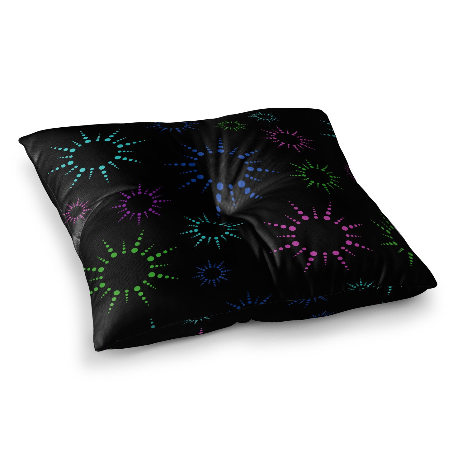 26 x 26 Square Floor Pillow Kess InHouse NL Designs Rainbow Fireworks Black Multicolor Geometric