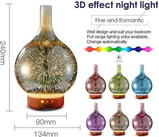 Fuegos artificiales de colores en 3D de cristal Silvercrest Aroma Difusor de aceite esencial, lámpara LED humidificador de vapor frío difusor, difusor de aceites esenciales por ultrasonidos 3D difusor: Amazon.es: Hogar
