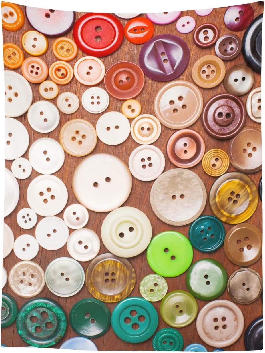 Timingila Botones Coloridos de Coser tapicería Cole de Tela Impresa Dormitorio Dormitorio decoración-54 x 44 Pulgadas: Amazon.es: Hogar