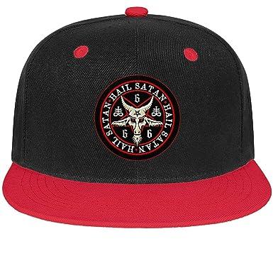 MpkTrend Hail Satan Goat 666 Gorras Planas con Logo Rojo para ...