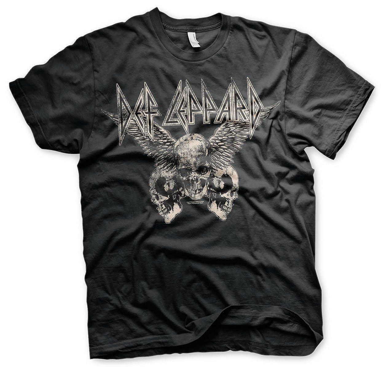 2cb91fd1 Def Leppard - Flying Skulls Official Mens T-Shirt (Black): Amazon.co.uk:  Clothing