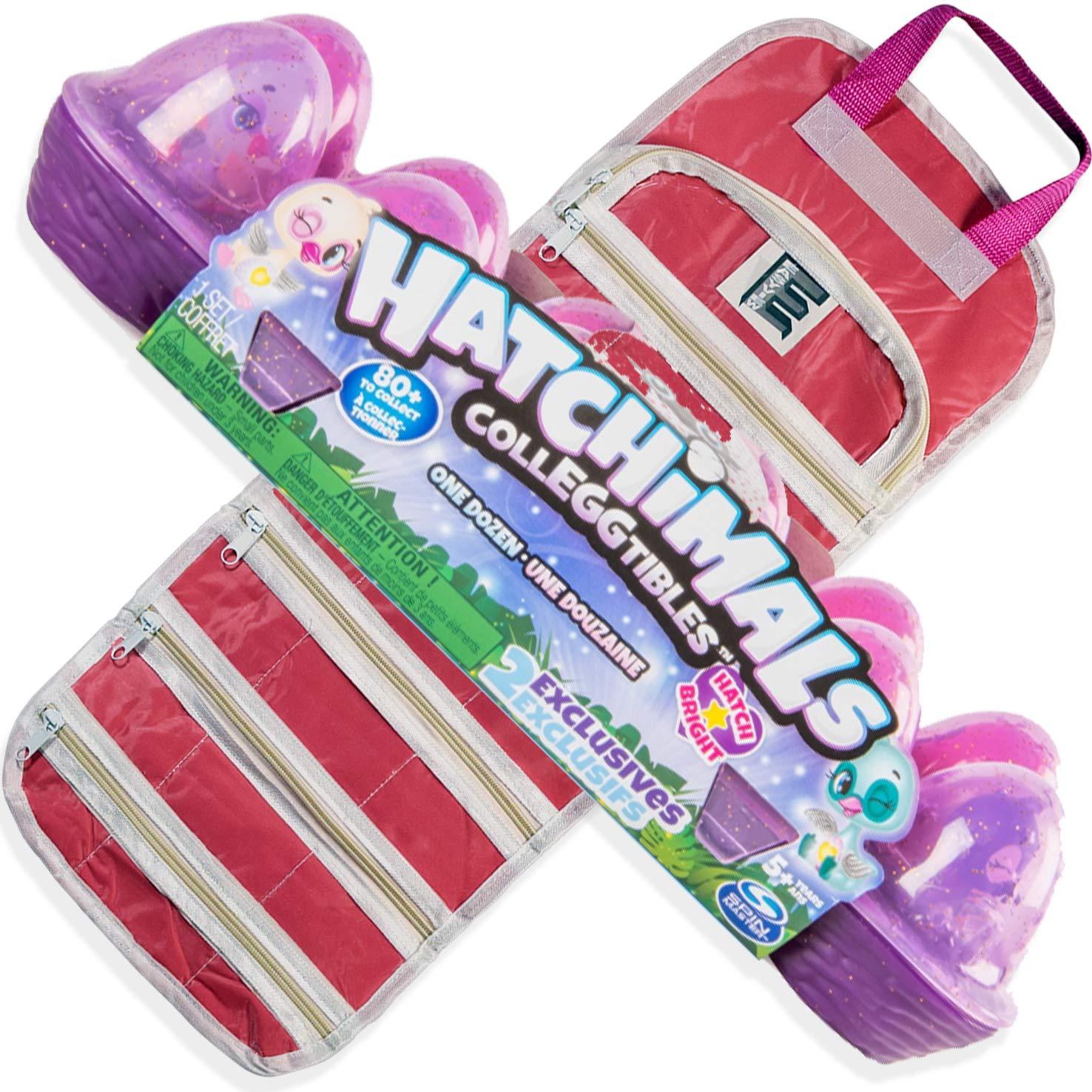 EASYVIEW Toy Storage Organizer Case with Season 4 Hatchimals CollEGGtibles Dozen Eggs Bundle (Pink S2)