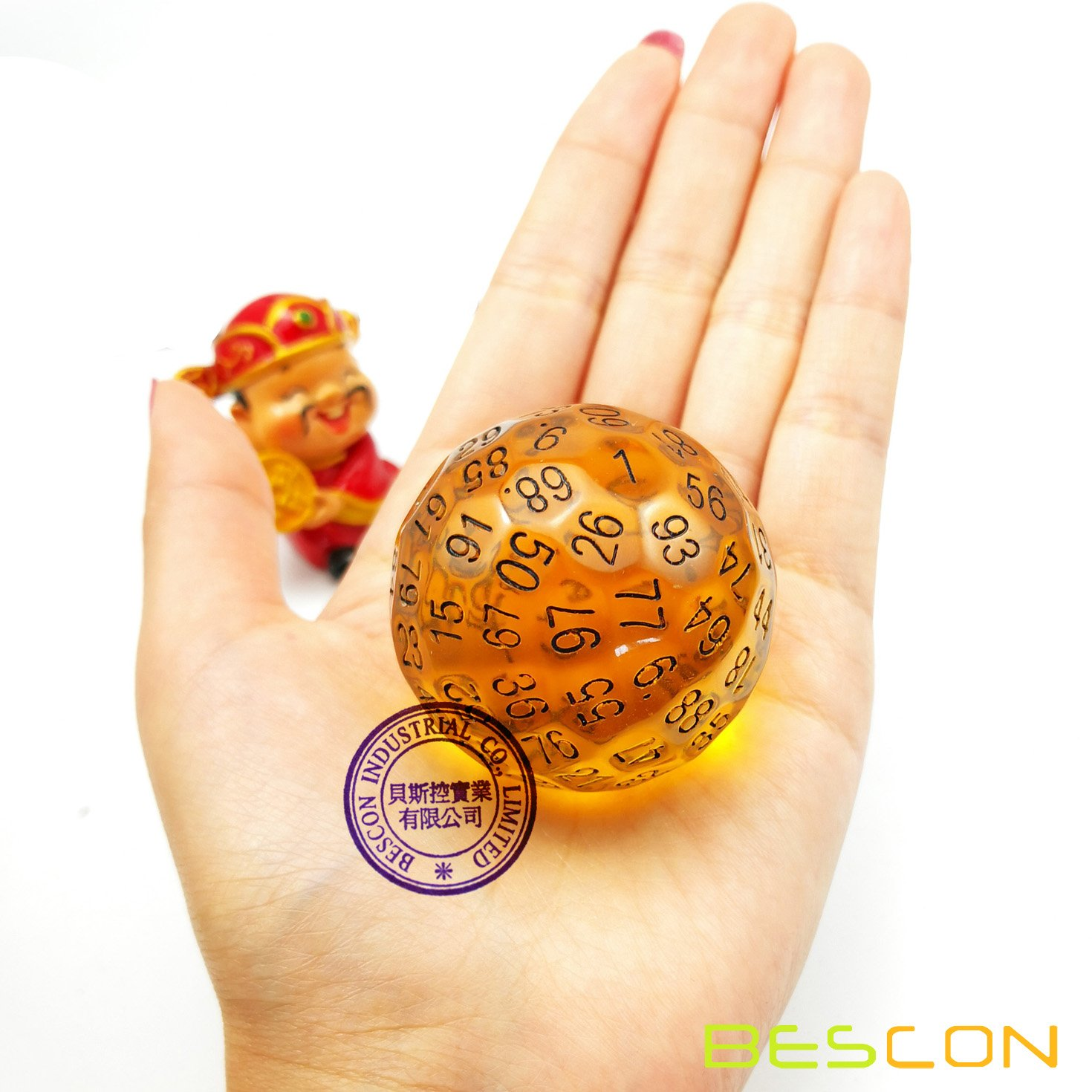 Bescon Translucent Polyhedral Dice 100 Sides Dice 100 Sided Cube D100 Game  Dice Transparent D100 die 100-Sided Cube of Amber