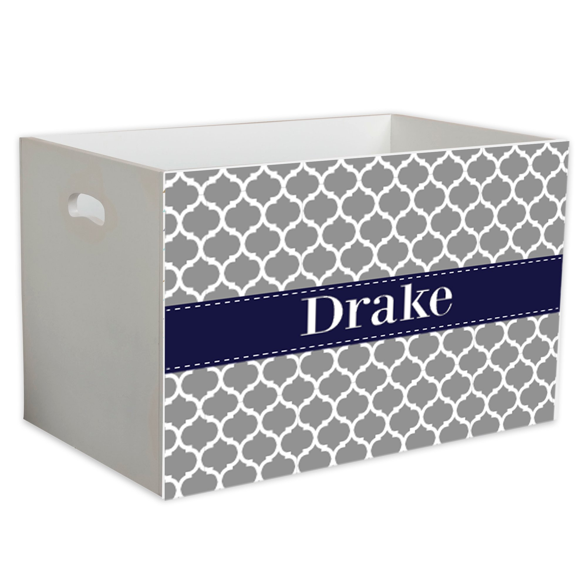 Personalized Gray Moroccan w Navy Childrens Nursery White Open Toy Box