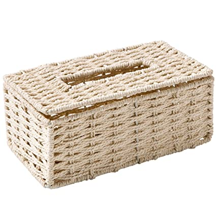 Woven Paper Towel Napkin Holder Box Tissue Cover Car Kitchen Office Coffee