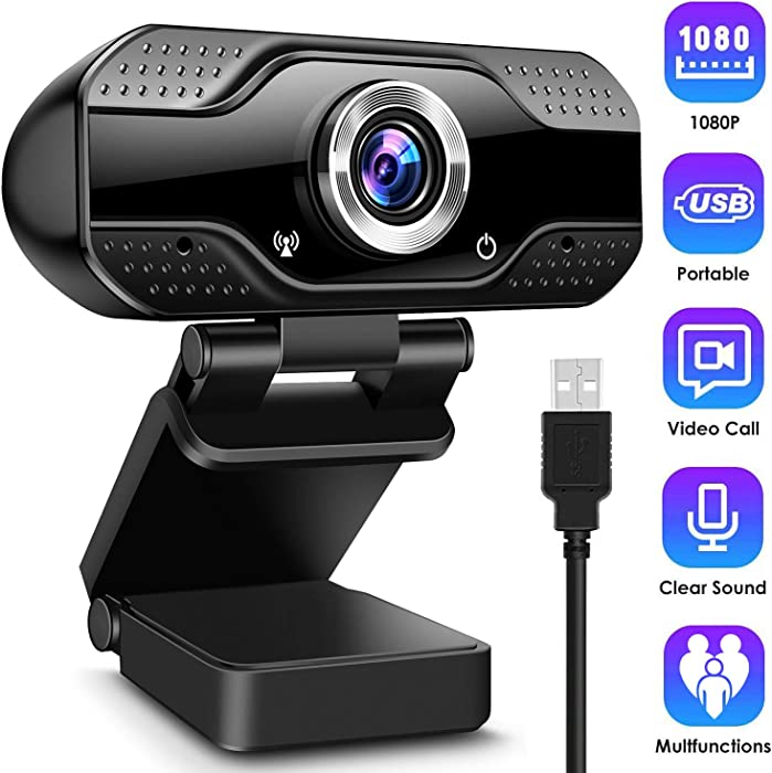 Toyuugo 1080P Full HD Webcam, HD PC Web Cam Laptop Plug and Play USB Streaming Computer Web Camera with Wide Angle Lens & Large Sensor for Video Calling Recording Conferencing Live Class