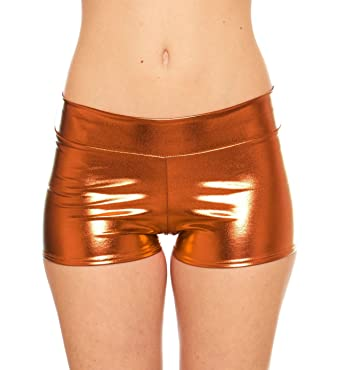 Women's Rave Booty Shorts Mini Hot Pants, Metallic Wet Look, By ...