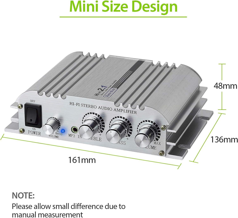 eSynic Amplificador de Potencia Hifi 2.1 Potencia de Audio Est/éreo Digital AMP Clase D Amplificador Est/éreo 2x40W Super Bass con 33 pies Cable de Altavoz Rojo//Negro 3 Pares 24k Conectores Chapados