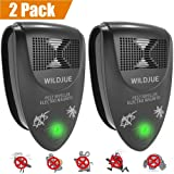WILDJUE Ultrasonic Pest Repeller Pest Control Spider repellent, Electronic Plug In Pest Repeller- Repels Mice, Roaches, Spiders, Other Insects,Non-toxic Environment-friendly, Humans & Pets Safe