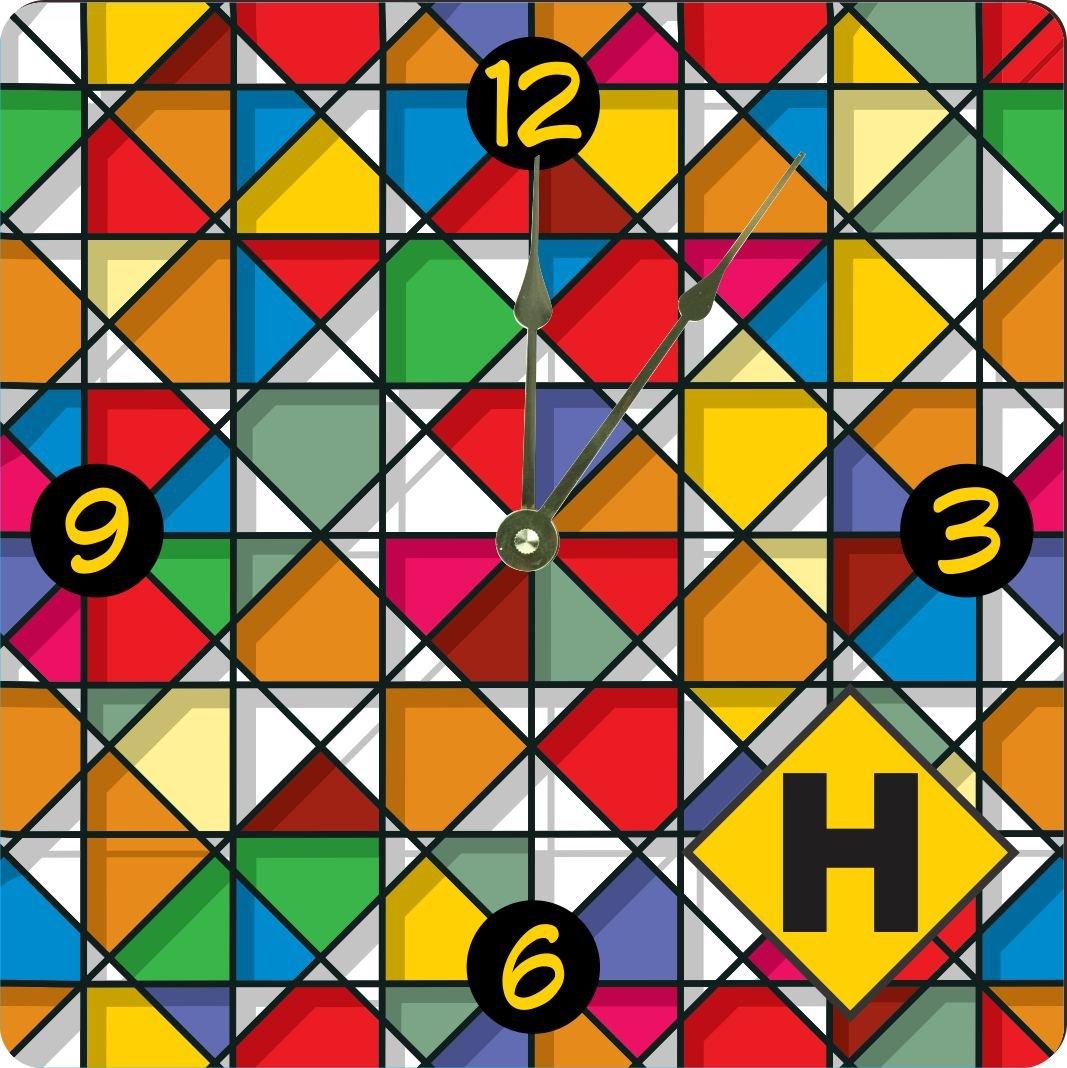 Rikki Knight Letter H Monogram Vibrant Colors Stained Glass Design Design 10'' Art Wall Clock