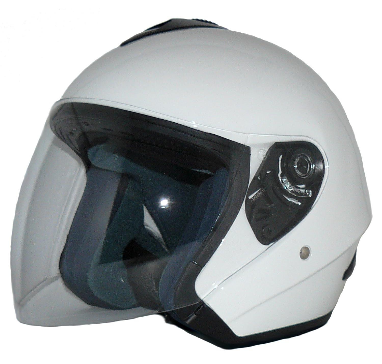 L Casque Ouvert V510 Casque de Moto visi/ère Blanc Brillant protectWEAR